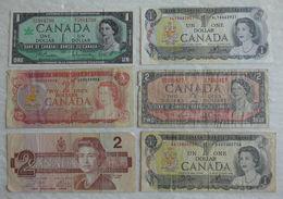 6 Billet De Banque Du Canada 1 & 2 Dollars - Canada