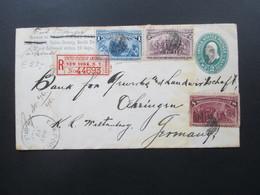 USA 1893 Kolumbus Nr. 73, 74 Und 79 MiF Einschreiben Exchange New York No 44693 Union County Bank Elk Point. - 1847-99 Emissions Générales