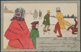 Ansichtskarte Jugendstil Art Nouveau Zugefrorener See Schlittschulaufen Winter - Ansichtskarten
