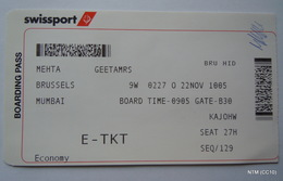 Swiss Air. E-Tkt, Boarding Pass: Flight From Brussels To Mumbai. Used. - Plane