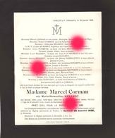 BAELEN Hémeséls  1928 Mme MARCEL CORMAN Née RENARDY - Obituary Notices