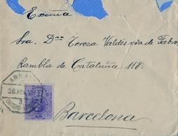 MURCIA , SOBRE CIRCULADO A BARCELONA , MAT. AMBULANTE ASCENDENTE CARTAGENA - ALBACETE - 1889-1931 Regno: Alfonso XIII