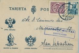 1938 , CANTABRIA , T. POSTAL PATRIÓTICA CIRCULADA ENTRE SANTANDER Y SAN SEBASTIAN , CENSURA MILITAR, CRUZADA - 1931-Hoy: 2ª República - ... Juan Carlos I