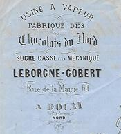 Facture Lettre / 59 NORD / DOUAI / 1868 / LEBORGNE-GOBERT / Chocolats Du Nord / Adressée à Molinier CAMBRAI - France