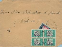 1937 , ALMERIA , FRONTAL CERTIFICADO , SORBAS - VALENCIA , FRANQUEO HUÉRFANOS DE CORREOS - 1931-Hoy: 2ª República - ... Juan Carlos I