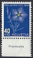 "Schweiz Suisse Svizzera: Pro Juventute 1949 Zu 132 Mi 544 Yv 496 ** MNH & Tab ""Prachtnelke"" (CHF 11.00) - Other"