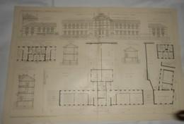 Plan Du Groupe Scolaire à Fontenay Sous Bois. Seine.M.M. P. Aubin Et G. Moisson, Architectes. 1910. - Public Works