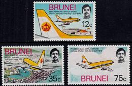 A5170 BRUNEI 1975, SG 241-3 Inauguration Of Royal Brunei Airlines,  MNH - Brunei (1984-...)