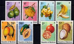 B5083 MALDIVE ISLANDS 1975,  SG 559-66  Fruit,  MNH - Maldives (1965-...)