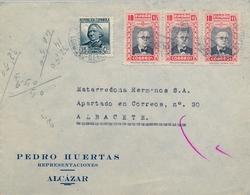 1937 , CIUDAD REAL , ALCÁZAR DE SAN JUAN - ALBACETE , SOBRE CIRCULADO ,  HUÉRFANOS DE CORREOS - 1931-Hoy: 2ª República - ... Juan Carlos I