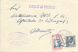 1938 , CIUDAD REAL , SOBRE COMERCIAL CIRCULADO ENTRE LA SOLANA Y ALBACETE - 1931-Hoy: 2ª República - ... Juan Carlos I