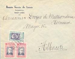 1937 , JAÉN , SOBRE  CIRCULADO ENTRE BAEZA Y ALBACETE , MAGNÍFICO FRANQUEO HUÉRFANOS DE CORREOS - 1931-Hoy: 2ª República - ... Juan Carlos I