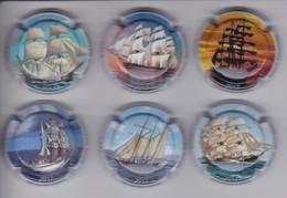 SERIE COMPLETA DE 6 PLACAS DE CAVA MONTECARO DE BARCOS (CAPSULE) BARCO-SHIP - Placas De Cava