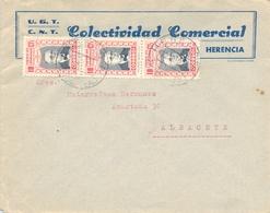 1938 , CIUDAD REAL , HERENCIA - ALBACETE , U.G.T. / C.N.T. COLECTIVIDAD COMERCIAL , SOBRE CIRCULADO - 1931-Hoy: 2ª República - ... Juan Carlos I