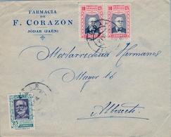 1938 , JAÉN , JÓDAR - ALBACETE , SOBRE CIRCULADO , BONITO FRANQUEO HUÉRFANOS CORREOS - 1931-Hoy: 2ª República - ... Juan Carlos I