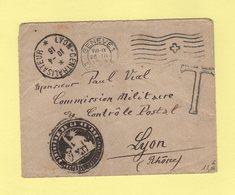 Lyon Centralisateur - 1916 - Sur Lettre De Suisse Pour La Commission Militaire De Controle Postal - Cachet Negatif - Marcofilia (sobres)