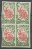 COTE DES SOMALIS Bloc De 4 Non Dentelé N°51 N* Cote 320 € P2356 - Costa Francese Dei Somali (1894-1967)