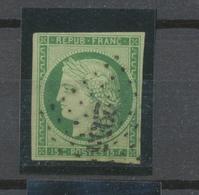 CERES N°2 15c Vert-jaune Obl Losange PC 2955 B/TB Signé Cote 4600 € P2358 - 1849-1850 Cérès