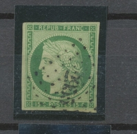 CERES N°2 15c Vert-jaune Obl Losange PC 2955 B/TB Signé Cote 4600 € P2358 - 1849-1850 Ceres
