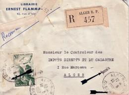 ALGERIE - ALGER - ALGER RP ALGER 1 - LETTRE RECOMMANDEE AVEC CHIFFRE 1 - LE 13-8-1952. - Algeria (1924-1962)
