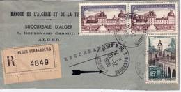 ALGERIE - ALGER - R.DE STRASBOURG - CHARGt 2 - FRAGMENT DE LETTRE RECOMMANDEE CHARGEE - 10-12-1958. - Algeria (1924-1962)