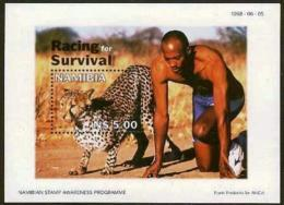 NAMIBIA, 1998, MNH Miniature Sheet Stamps, Man/Leopard Run, Michel Block 41, #6917 - Namibia (1990- ...)