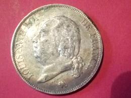 MONNAIE  PIÈCE DE 5 Francs MICHAUT F. LOUIS XVIII 1822 A  ARGENT Non Nettoyé - France