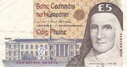 BILLETE DE IRLANDA DE 5 POUNDS DEL AÑO 1996  (BANKNOTE) - Ireland