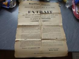 POITIERS 1879, Affiche Lutte Contre Phylloxéra, Thème RARE (état) ; Ref 216VP45 - Affiches