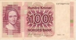 BILLETE DE NORUEGA DE 100 KRONER DEL AÑO 1993  (BANKNOTE) - Norvegia