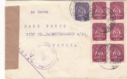 PORTUGAL 1949 - 7 Fach Frankierung Auf Zensurierten Brief Gel.v. Portugal Villa Verde > Wien 21 - Briefe U. Dokumente