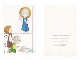 Brive, 1re Communion Anne Revellat, 1970, Institution Jeanne D'Arc, Illustrateur Caro, Enfantine - Devotion Images