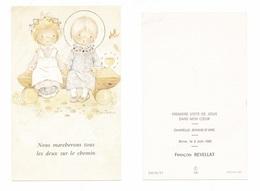Brive, 1re Communion De François Revellat, 1982, Chapelle Jeanne D'Arc, Illustrateur Constanza, Enfantine - Devotion Images
