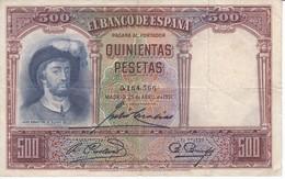 BILLETE DE ESPAÑA DE 500 PTAS DEL AÑO 1931 SIN SERIE CALIDAD  BC - 500 Pesetas