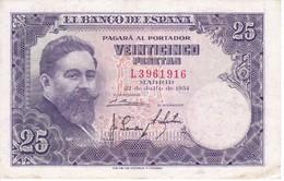 BILLETE DE ESPAÑA DE 25 PTAS DEL AÑO 1954 SERIE L EN CALIDAD MBC (VF)(BANKNOTE) - 25 Peseten