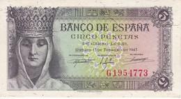 BILLETE DE ESPAÑA DE 5 PTAS DEL 13/02/1943 SERIE G ISABEL CATOLICA SIN SIRCULAR (BANKNOTE) UNCIRCULATED - 5 Pesetas