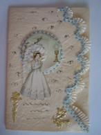 Carte De Voeux Communion Dentelle Wenskaart Gefeliciteerd Communie Kant Circa 1955 Form 9,5 X 14 Cm - Communie