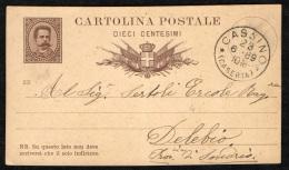 ITALIA REGNO - 23-6.89 - CARTOLINA POSTALE DA CASSINO VERSO DELEBIO - 1878-00 Umberto I