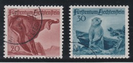 LIECHTENSTEIN 1947: 'Animaux De Chasse' 20c Et 30c (ZNr 213 Et 214),  Oblitérés - Gebraucht