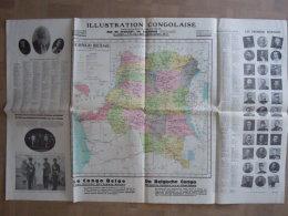 Congo Belge Administratif-économique Carte Rois Premiers Pionniers Illustration Congolaise 1933? Form 99 X 65 Cm - Maps