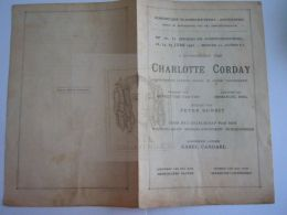 1922 Antwerpen Charlotte Corday Historisch Drama Muziek Peter Benoit In De Opera Programma 8 Pag Form 13,8 X 21,5 Cm - Programs