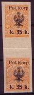 Poland 1918 Mi 13 Military Edition. I Corps Of Gen. Musnicki Imperforate Pair Blank Field. Owerprint K Error MNH** W566 - Ongebruikt