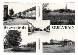 BELGIQUE  /  SOUVENIR  DE  QUIEVRAIN  ( Station-service Au Centre, Avec Pompe à Essence Et Automobiles Années 50 ) - Quiévrain