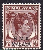 Malaya B.M.A  SG 5 1945 British Military Administration, 5c Brown, Mint Never Hinged - Malaya (British Military Administration)