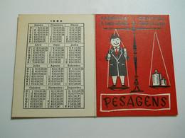 Calendar//Weight Card * Portugal * 1962 * Farmácia Central * Porto - Calendars