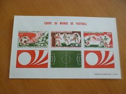 Bloc Non Gabon Dentelé épreuve Luxe Papier Cartonné Coupe Du Monde Football 1974 - Gabón (1960-...)