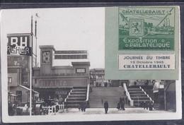 Carte Locale Journee Du Timbre 1945 Chatellerault Avec Vignette Speciale - Philatelic Fairs