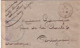 ALGERIE - HUSSEIM DEY - ALGER - MANUSCRIT PHOTO AERIENNE AVIATION HUSSEIM DEY - ENVELOPPE EN FM DU 11-8-1918 - BANDE CE. - Postmark Collection (Covers)