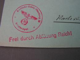 BM Frei Durch Ablösung  Dt. Dienstpost Nach Karlsruhe , Polizei - Böhmen Und Mähren