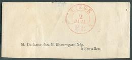 Devant Dd Bande D'IMPRIME Obl. Caàd Fractionnaire LIEGE/P.P. Du 2 Juillet (1849) Vers Bruxelles.  - 12807 - 1830-1849 (Unabhängiges Belgien)